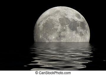 eau, sur, lune