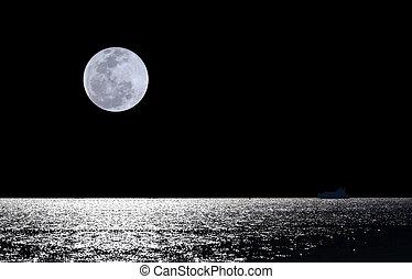 eau, sur, pleine lune