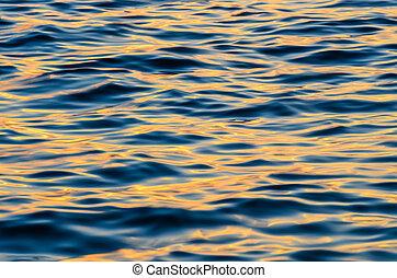 eau, vagues, coucher soleil, effet, temps