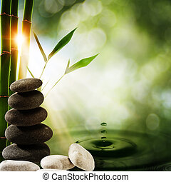 eco, arrière-plans, eau, éclaboussure, oriental, bambou