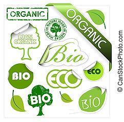 eco, ensemble, éléments, organique, bio