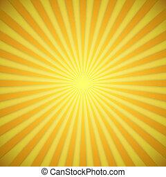 effect., jaune, clair, vecteur, fond, orange, ombre, sunburst
