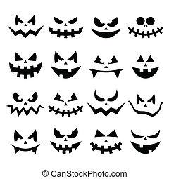 effrayant, citrouille, faces, halloween, icônes