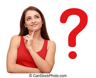 elle, pensée, question, haut, signe, regarder, girl, rouges