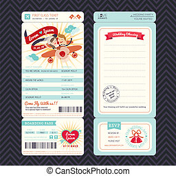 embarquement, invitation, vecteur, gabarit, mariage, billet, passe, dessin animé