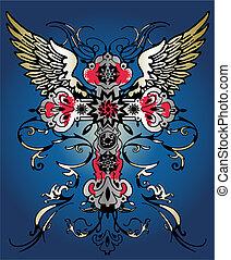 emblème, héraldique, voler, croix, aile, tribal