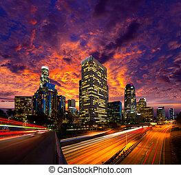 en ville, la, angeles, los, horizon, coucher soleil, nuit, californie