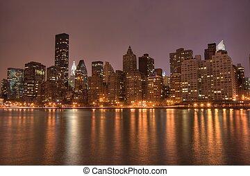 en ville, nyc, nuit, manhattan