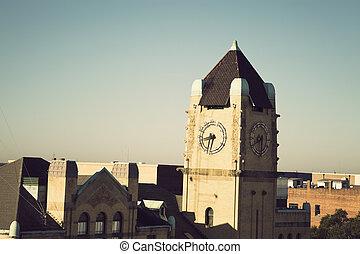 en ville, savane, tour, horloge