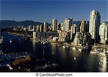 en ville, vancouver, canada, skyscrapers-