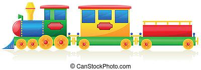 enfants, illustration, vecteur, train