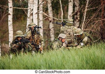 engagé, exploration, groupe, soldats, secteur