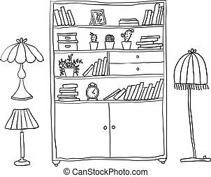 ensemble, étagère, -, éléments, lampes, conception