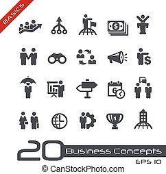 ensemble, business, --, concepts, fondamental, icône