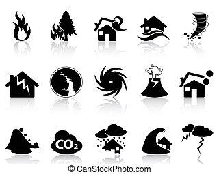 ensemble, calamité naturelle, icônes