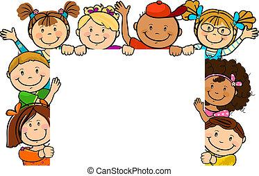 ensemble, carrée, enfants, feuille