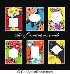 ensemble, cartes, invitation