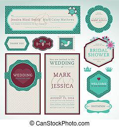 ensemble, cartes, invitation, mariage