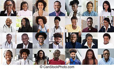 ensemble, collage, fait face gens, africaine