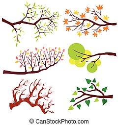 ensemble, feuilles, arbre, flowers., vecteur, branche