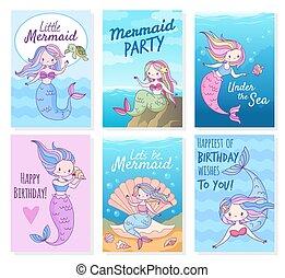ensemble, gabarit, princesses, vecteur, créatif, album, fête, mythique, cartes., mignon, créatures, carte postale, anniversaire, sirène, mer, invitations