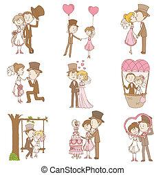 ensemble, griffonnage, palefrenier, -, mariée, vecteur, conception, album, invitation, mariage, éléments