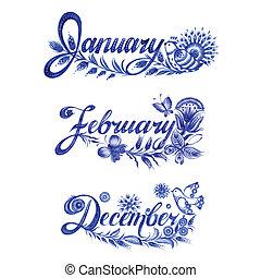 ensemble, hiver, nom, mois