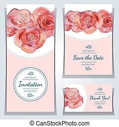 ensemble, invitation, cartes.