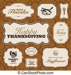 ensemble, modèle, cadre, thanksgiving, vecteur, automne