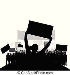 ensemble, silhouette, gens, dos, deux, protestation, vecteur, groupe