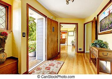 entrée, vieux, maison, walls., jaune, grand, luxe, art