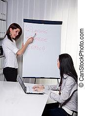 entraînement, jeune, femmes affaires