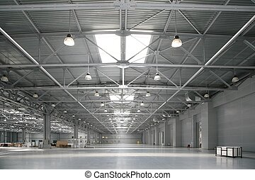 entrepôt, grand, centre commercial