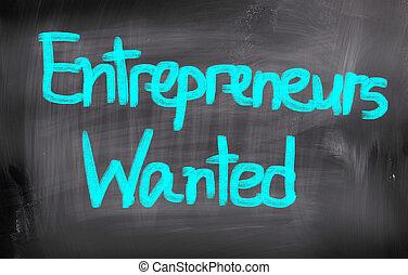 entrepreneurs, concept, voulu
