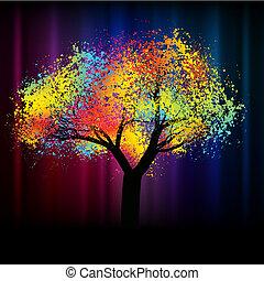 .eps, coloré, espace, résumé, arbre., 8, copie