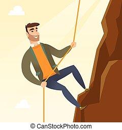 escalade, femme, mountain., business