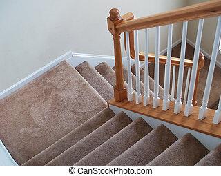 escalier, moquetté