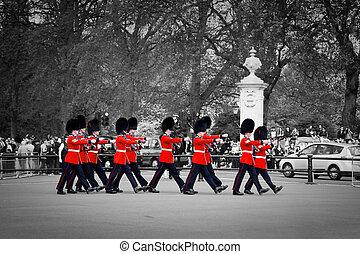 exécuter, mars, palais, mai, royal, -, britannique, gardes, buckingham, garde, londres, 17:, changer