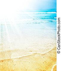 exotique, été, clair, soleil, plage