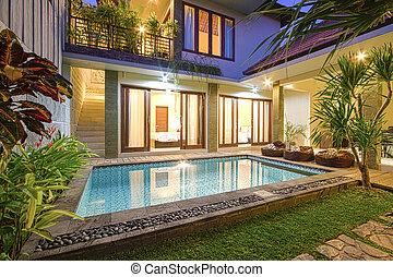 exotique, villa, pool.