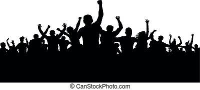 fâché, silhouette, foule, gens, fâché, protesters, vecteur, foule