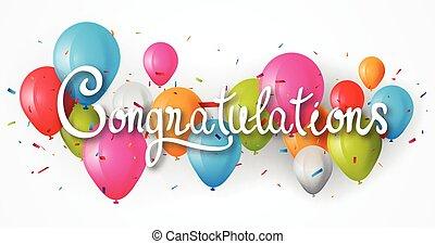 félicitations, balloon, bannière