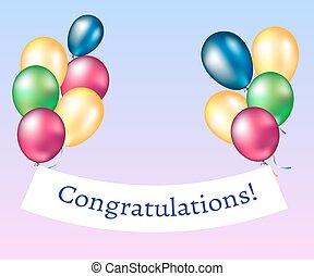 félicitations, balloons., bannière
