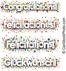félicitations, bannière, coloré, confetti.