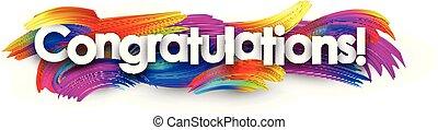 félicitations, coloré, strokes., papier, brosse, bannière