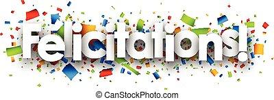 félicitations, papier, banner.