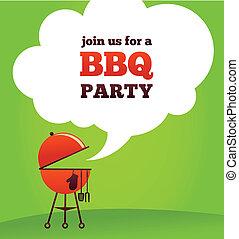 fête, barbecue, invitation