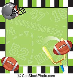 fête, football, carte, invitation