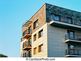 façade, bâtiment, appartement, extérieur