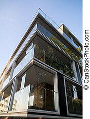 façade, bâtiment., appartement, nouveau, moderne